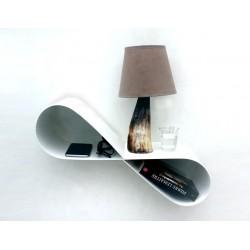 Table de nuit murale blanche en métal chevet suspendu moderne mobius