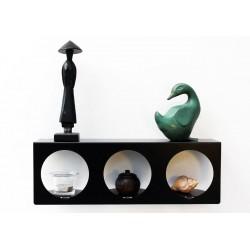 Etagère murale noire décorative étagère design avec niches décoratives